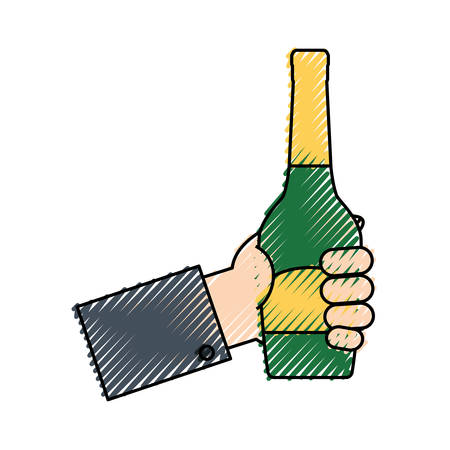 colored  hand  with bottle champagne doodle over white background  vector illustration