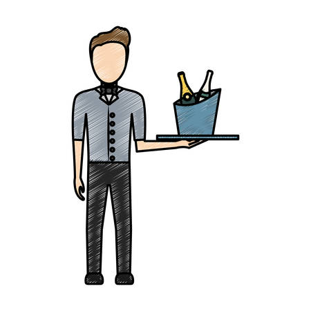 colored waiter man  with  wine cooler  over white  background  vector illustration