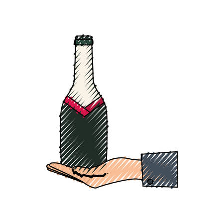 colored   hand with  bottle wine  over white background  vector illustration