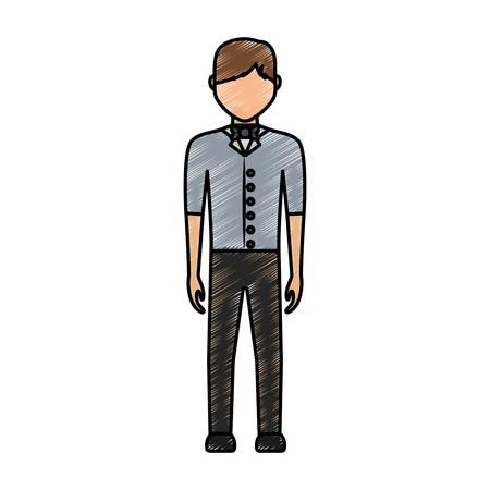 hotel staff: colored waiter man doodle  over white  background  vector illustration Illustration