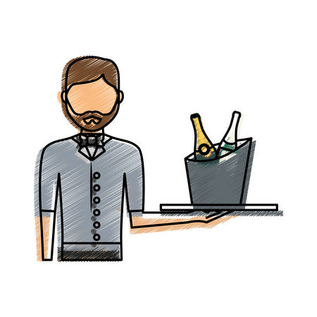 hotel staff: colored waiter man  with  wine cooler  over white  background  vector illustration