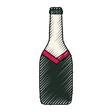 colored  bottle wine over white background  vector illustration