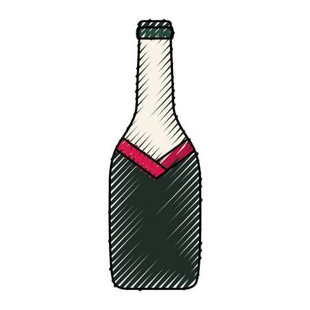 colored  bottle wine over white background  vector illustration