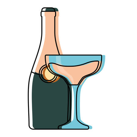 champagne bottle and glasses icon over white background vector illustration
