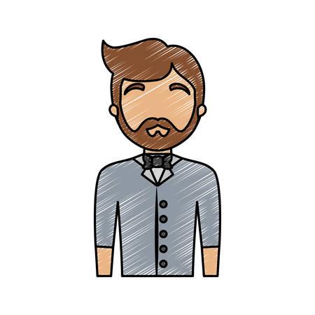 colored waiter man doodle  over white  background  vector illustration Illustration