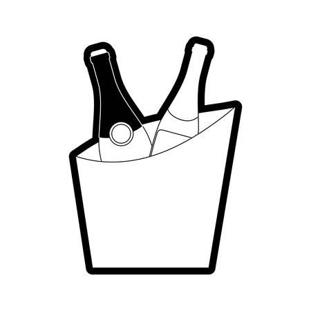 flatl line uncolored wine cooler over  white background  vector illustration