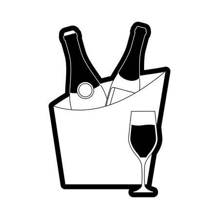 flatl line monochromatic wine cooler with glass  over  white background  vector illustration