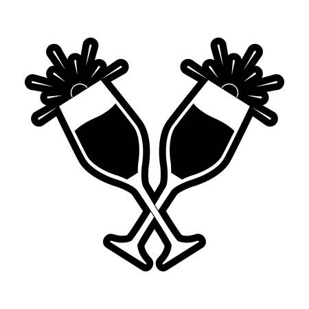 flat line  monochromatic   glasses  of champagne over white background  vector illustration