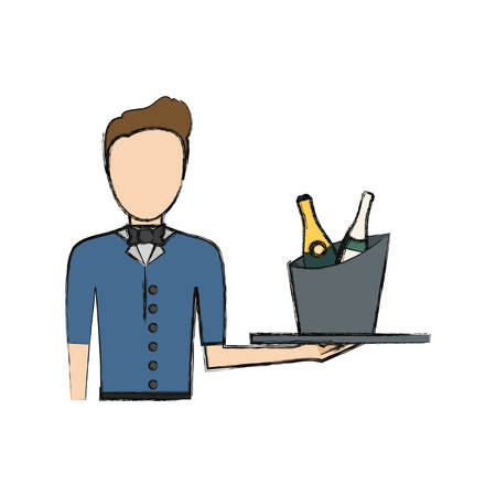 bartender holding a tray with drinks icon over white background colorful design vector illustration Illustration