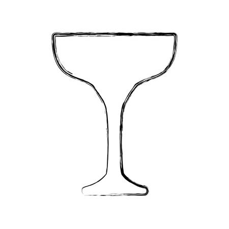 flat line uncolored  glass over white background  vector illustration