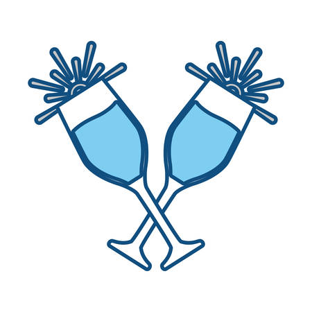 two clinking Champagne Glasses icon over white background vector illustration Illustration