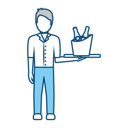 bartender holding a tray with drinks icon over white background vector illustration Illustration