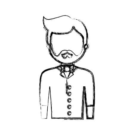 flat line uncolored  waiter man  over white background vector illustration Illustration