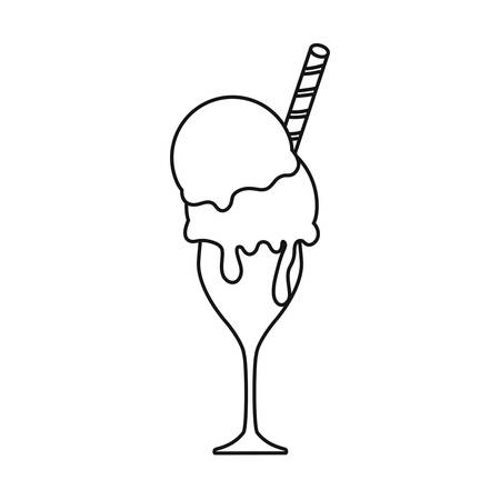 flat line colored  glass ice cream over white background vector illustration Illustration