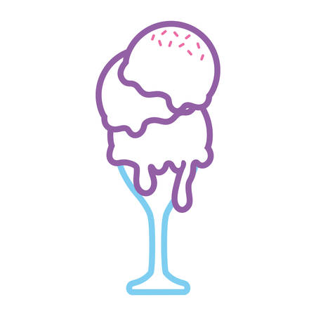 flat line  colored glass with ice cream  over white background  vector illustration