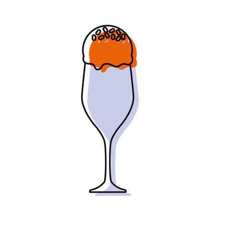ice cream glass icon over white background colorful design  vector illustration