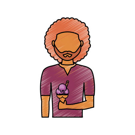 avatar man with ice cream icon over white background vector illustration