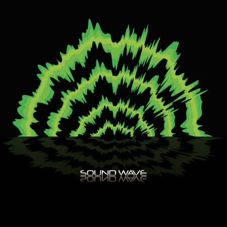 green sound wave icon over black background colorful design vector illustration