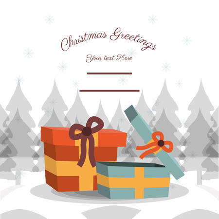 christmas greetings design with gift boxes icon vector illustration Illustration
