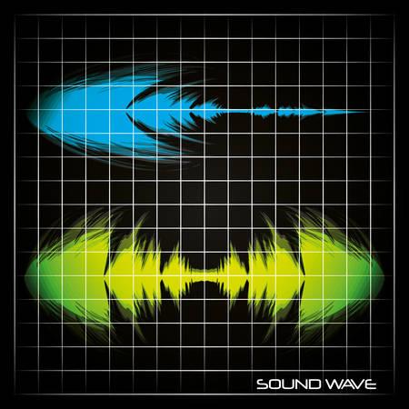 green and blue sound waves over black background colorful design vector illustration