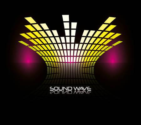 colorful sound wave over black backgorund vector illustration