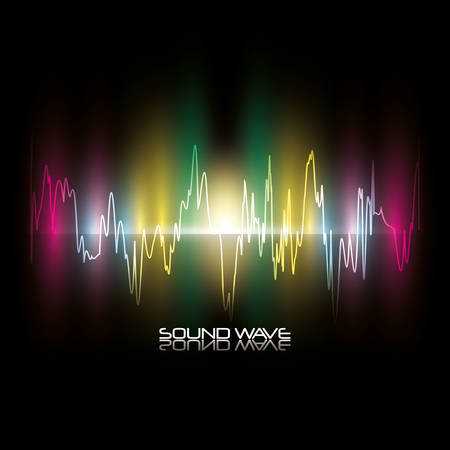 colorful sound wave over black backgorund vector illustration