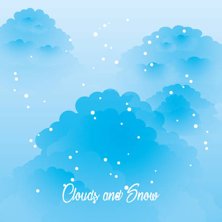 clouds and snow colorful design vector illustration