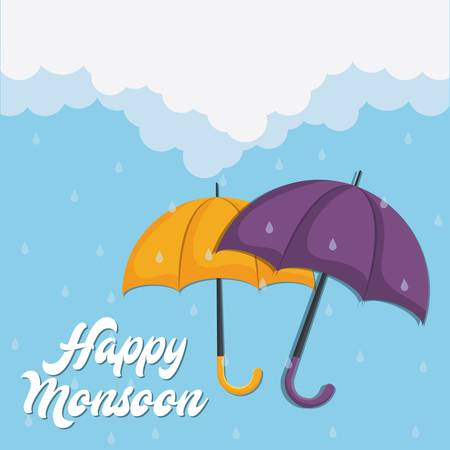 happy monsoon colorful design with yellow and purple backgrund icon over blue background vector illustration