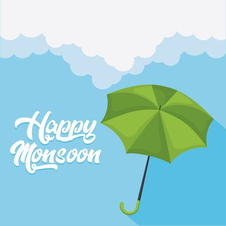 happy monsoon colorful design with  green umbrella icon over blue background vector illustration Illustration