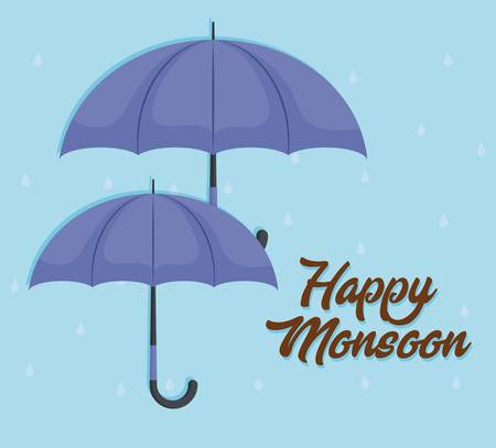 happy monsoon colorful design with purple umbrellas icon over blue background vector illustration