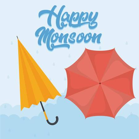 happy monsoon colorful design with yellow and red umbrellas icon over blue background vector illustration