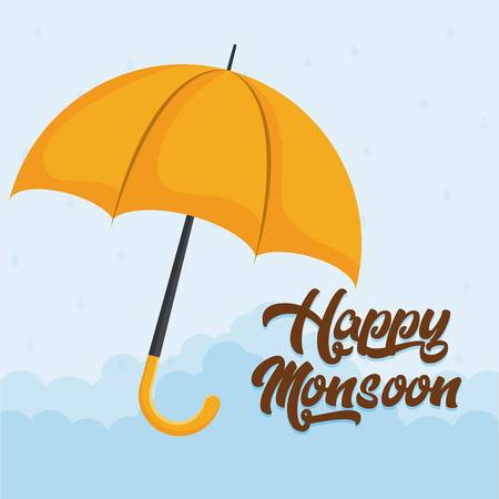 happy monsoon colorful design with yellow umbrella icon over blue background vector illustration