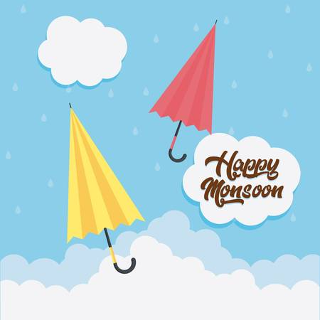 happy monsoon design with colorful umbrellas icon over blue background vector illustration