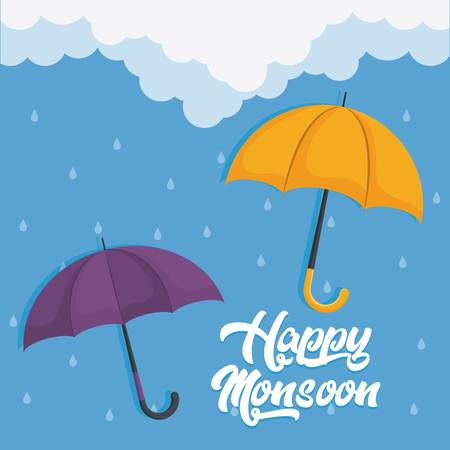 happy monsoon colorful design with yellow and purple backgrund icon over blue background vector illustration Illustration