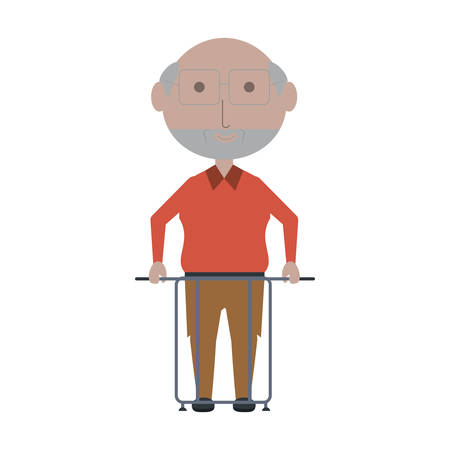 elderly man with a walker icon over white background colorful design vector illustration