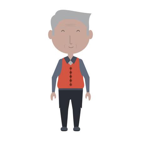cartoon elderly man icon over white background colorful design vector illustration