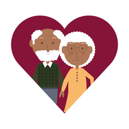 heart with a Elderly couple icon over white background colorful design vector illustration Illustration