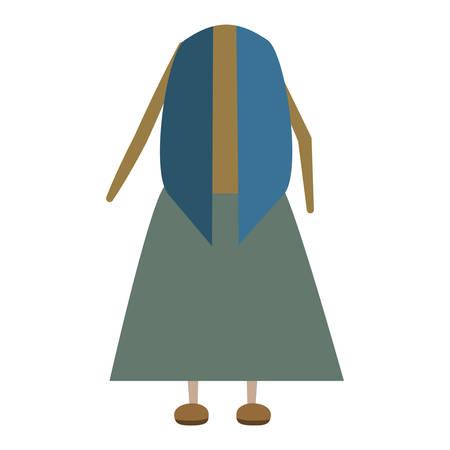 senior woman dress  icon over white background colorful design vector illustration Çizim