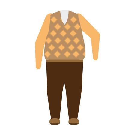 casual clothes for a senior man over white background colorful design vector illustration Ilustração