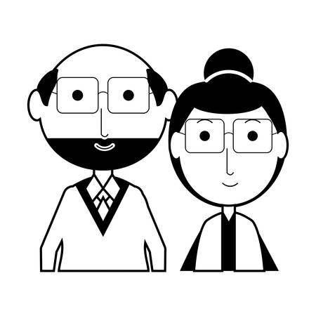 cartoon eldery couple icon over white background vector illustration Illustration