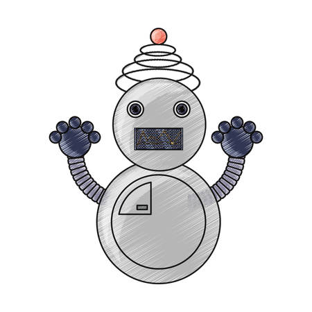 cartoon robot icon over white background colorful design vector illustration Illustration