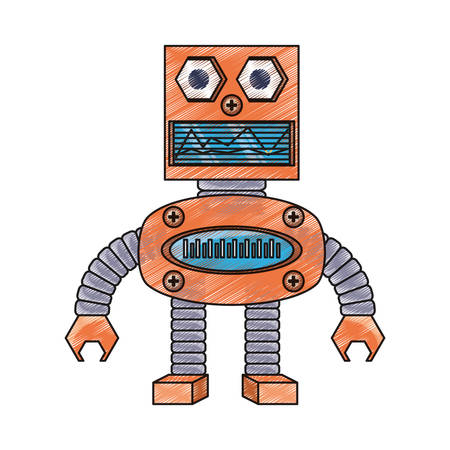 icono de robot de dibujos animados sobre diseño colorido fondo blanco Vectores