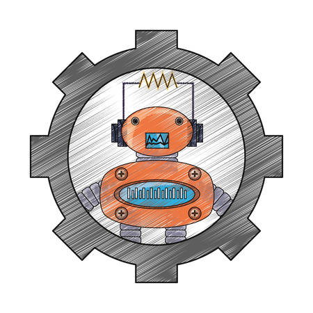 gear with cartoon robot icon over white background colorful design