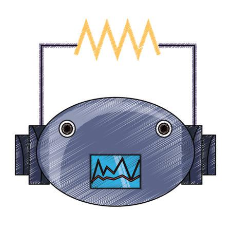 icono de cabeza de robot de dibujos animados sobre fondo blanco ilustración de vector de diseño colorido Ilustración de vector