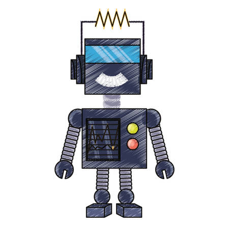 cartoon robot icon over white background colorful design vector illustration Illustration
