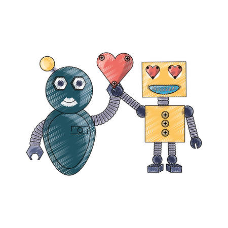 cute couple of cartoon robots with heart icon over white background colorful design  vector illustration Illustration