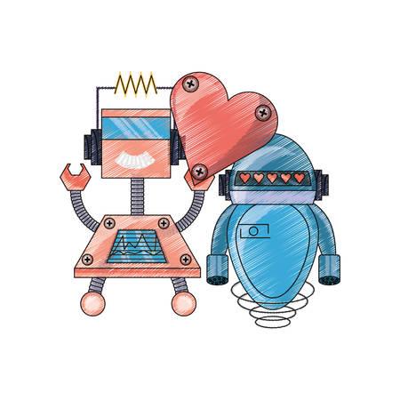 Linda pareja de robots de dibujos animados con el icono del corazón sobre fondo blanco Diseño colorido