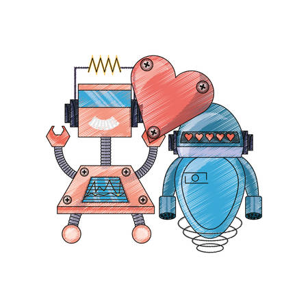 cute couple of cartoon robots with heart icon over white background colorful design Illustration