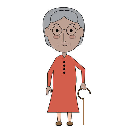 Cartoon elderly woman with a walking stick icon over white background colorful design vector illustration