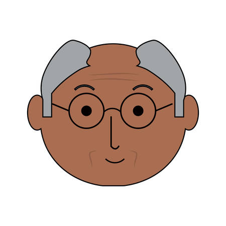 Cartoon elderly man face icon over white background colorful design vector illustration